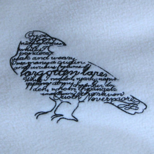 Raven with Poe Quote Embroidered Ivory Fleece Scarf