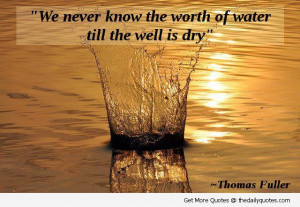 We Never Know The Worth Of Water Till The Well Is Dry""