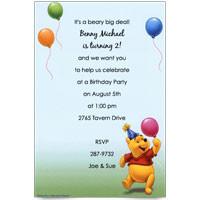 Disney Pooh Party Hat Balloons Baby Birthday Invitations