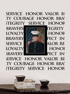 Honor Courage Valor Bravery Loyalty Respect Military Sticky Words Wall ...