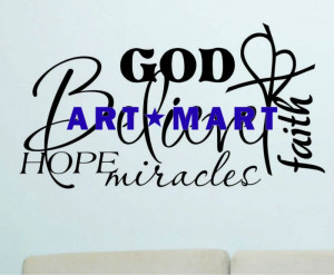 Vinyl Wall Lettering Quotes Religious Word Collage Believe, Wall Words ...