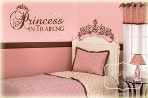 Princess in training quote with tiara and stars vinyl wall art decal ...