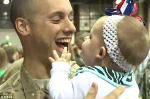 ... Sergeant Nicholas Wall meets his daughter Brooklyn for the first time