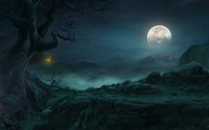 Good night beautiful full moon on sky