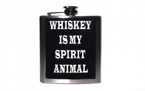 Whiskey Is My Spirit Animal, Funny Flask, Sarcastic Humor, Men Women ...