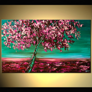 Contemporary Landscape Painting - Under the Cherry Blossom Tree