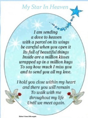 Angel Going To Heaven Quotes I am sending a dove to heaven
