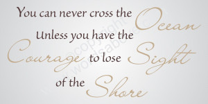 YOU CAN NEVER CROSS THE OCEAN Vinyl Wall Quote Word Decal Inspire ...