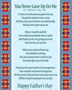 Father's Day Poems From Daughter – Father Day Poetry For