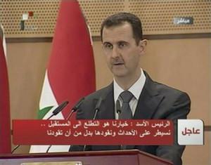 Syria's President Bashar al-Assad speaks in Damascus in this still ...