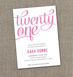 Twenty First - Birthday Invitation (Digital file)