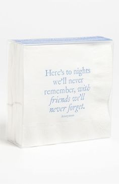 Cocktail Napkin via Nordstrom. Here's to nights we'll never remember ...