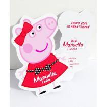 30 Convites Peppa Pig Corte Especial Impresso Frente Verso