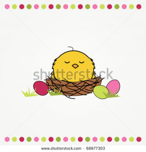 ... of a funny cartoon nest with eggs and chicken - stock vector