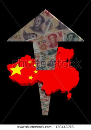 Chinese yuan arrow and map flag illustration - stock photo