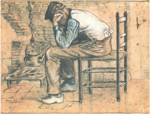 ... van Gogh's Peasant Sitting by the Fireplace (Worn Out) Watercolor