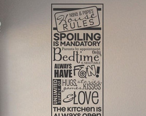 Slap-Art™ Nana and Papa's house rules... Wall Art Decal Sticker ...