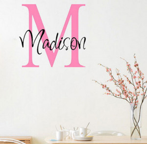 Personalized-Custom-Name-Kids-Initial-Art-wall-decal-quote-sticker ...
