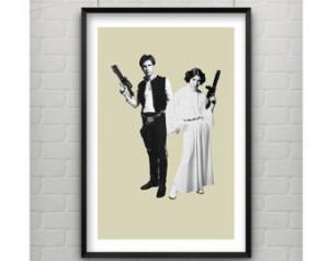 Princess Leia and Han Solo Star Wars Print - Princess Leia Print - Han ...