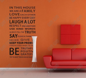 NEW HOT In This House We Are a Family Wall letter Stickers Quotes and ...