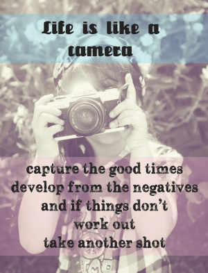 Life is like a camera... Photography - Camera Quote