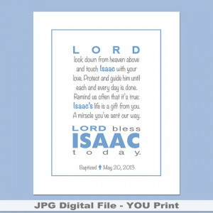Printable Prayer Wall Art with child's name, Bible verse, baptism ...