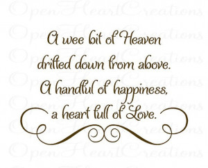 Wee Bit of Heaven Drifted Down From Above Baby Nursery Wall Decal ...