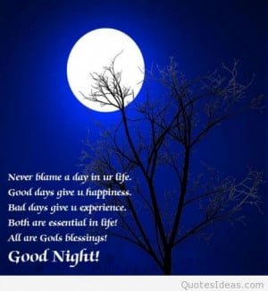 Good night blessings card with quote