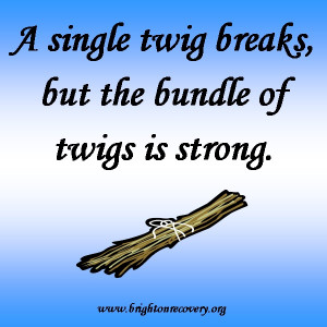 single twig breaks, but the bundle of twigs is strong
