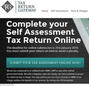 The home page of Tax Return Gateway, the alleged copycat site that ...