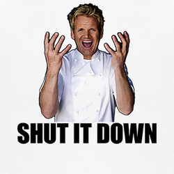 ... Hell's Kitchen Gordon Ramsay Quote Shut It Down TV Show T Shirt $19