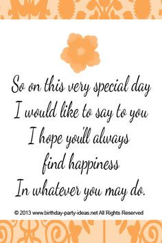 So on this very special day I would like to say to you I hope you'll ...