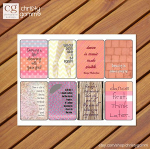 Printable Dance Quote Cards - 300 dpi - for scrapbooking, cards ...