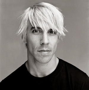 Anthony Kiedis black & white portrait with blonde chopped hair