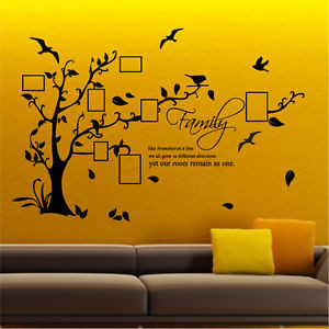 ... Family Tree Bird Photo Frame Wall Quotes large wall sticker black
