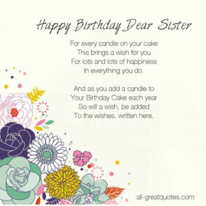 CLICK FOR >> Birthday Wishes For SISTER To WRITE In BIRTHDAY CARD