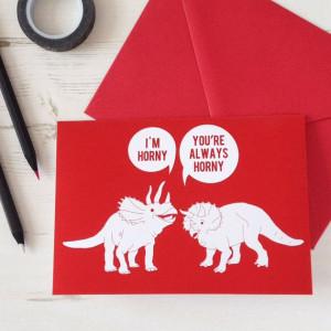 Valentine's Card Funny Horny Dinosaurs. Red by NewtonAndTheApple, £3 ...