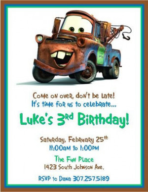 Disney Cars Tow Mater Invitations - Digital Printable File - DIY - You ...