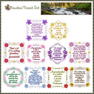 ... Wildflowers :: Wildflower Grandparent Quotes 'N Quilt Block Set 3