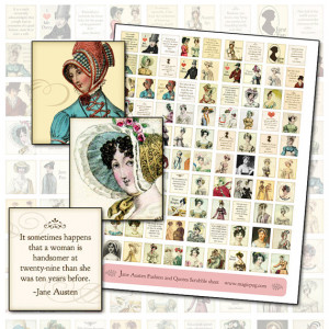 Jane Austen Quotes and Regency Fashion Digital Collage Scrabble Sheet ...