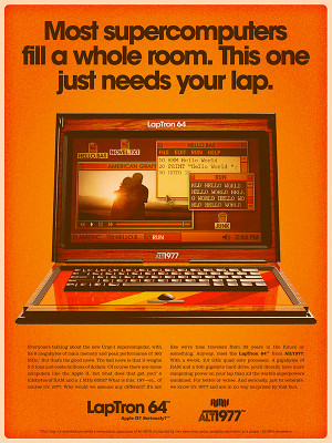 Today's devices in the 70's style advertising posters