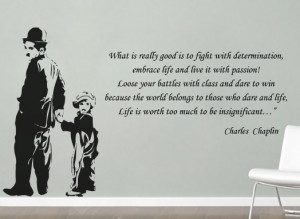 Charlie Chaplin silhouette with quote in vinyl wall decal sticker ...