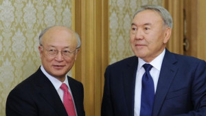 Nursultan Nazarbayev (R) meets with Yukiya Amano in Astana on August ...