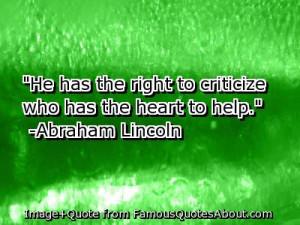 Abraham Lincoln Criticize Quote