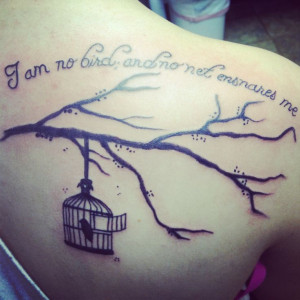 ... ensnare #ink #teamtatted #permanent #tree #branch #bird #cage #freedom