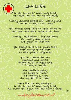 Lunch Ladies Free Printable Poem More