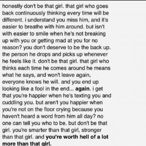 goes out to any girl feeling worthless.. You're better than that girl