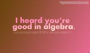 Math Quote: I Heard You're Good In Algebra