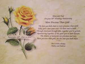 50th Wedding Anniversary Personalized Poem Gift for Parents ...