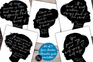 Jane Austen Quote Set of 5 printable wall art wall decor print poster ...